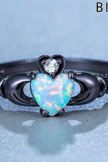STYLEDOME Charming Heart Zircon Opal Ring